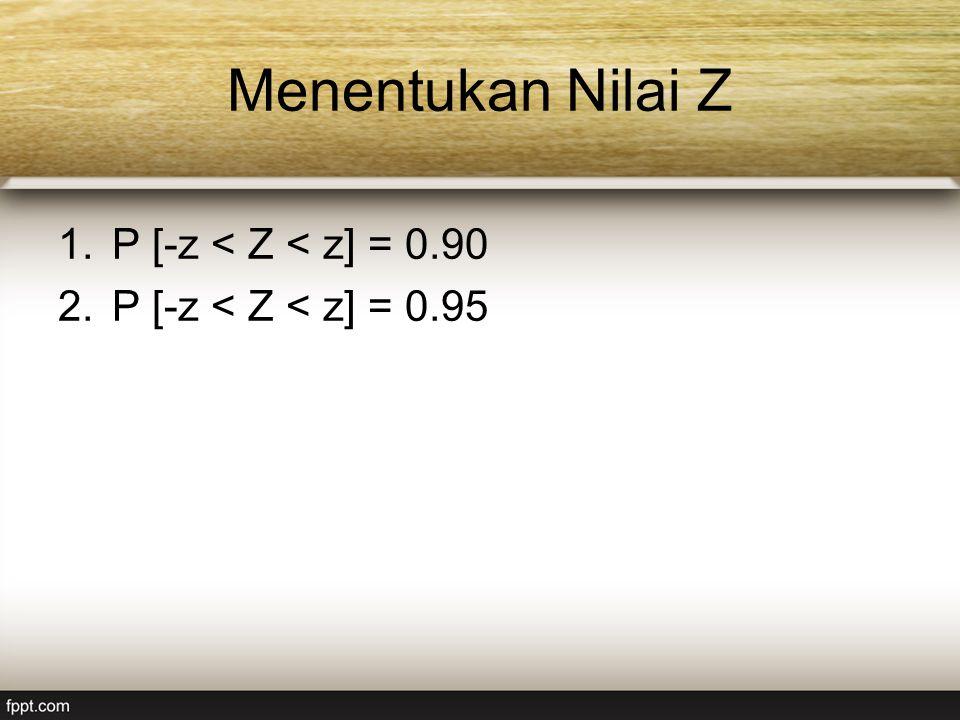 Menentukan Nilai Z P [-z < Z < z] = 0.90